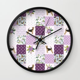 Airedale Terrier Cheater Quilt -  patchwork, airedale, dog, blanket, cute design Wall Clock