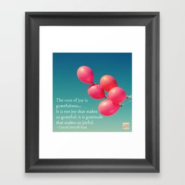 Gratitude - the root of joy Framed Art Print