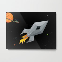 Cute Metal Rocket Ship Metal Print