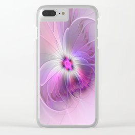 Abstract Flower With Pink And Purple Fractal Clear iPhone Case