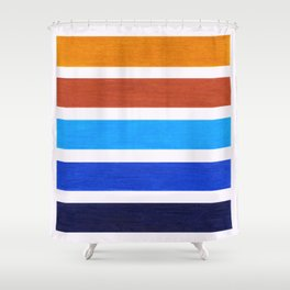 Blue & Brown Geometric Pattern Shower Curtain
