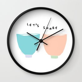 Words from Colorful Bowls - kitchen illustration Wall Clock