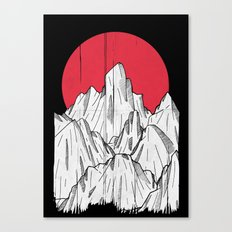 The red sun and the mountains Canvas Print