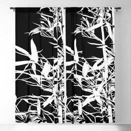 White Bamboo Silhouette On Black Blackout Curtain