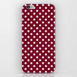 Small Polka Dots - White on Burgundy Red iPhone Skin