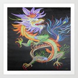 Bright and Vivid Chinese Fire Dragon Art Print