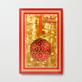Merry Christmas Bauble on Gold With Red and Gold Border  Metal Print