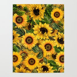 Vintage & Shabby Chic - Noon Sunflowers Garden Poster