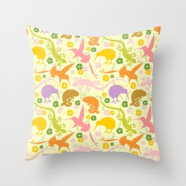Animals Exotic Pastel Colors Shapes Pattern Throw Pillow