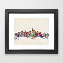 Seattle Washington skyline Framed Art Print