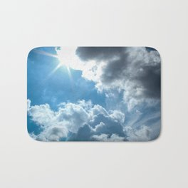 Bright and sunny London sky Bath Mat