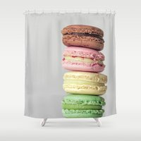 macarons Shower Curtains featuring Macarons by Lucía Gámez