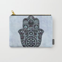 Watercolor Blue Pink Hamsa Hand Carry-All Pouch