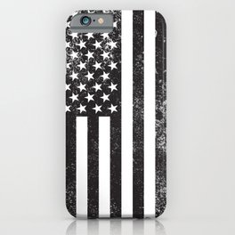 American Flag black and white texture iPhone Case
