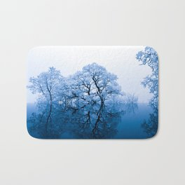Blue Winter Trees Bath Mat