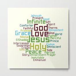 Names and Attributes of Jesus Word Cloud Metal Print