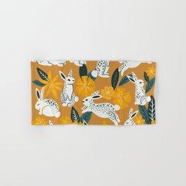 Bunnies & Blooms - Ochre & Teal Palette Hand & Bath Towel