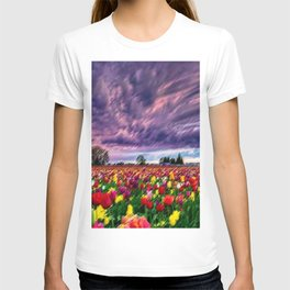 Rhode Island Sunsets and Tulips Landscape by Jeanpaul Ferro T-shirt