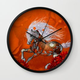 Steampunk, wonderful wild steampunk horse Wall Clock