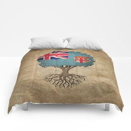 Vintage Tree of Life with Flag of Fiji Comforters