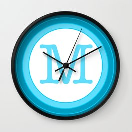 Blue letter M Wall Clock