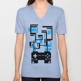 8-BIT JOYSTICK (BLUE AND BLACK) Unisex V-Neck