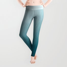 Tropical Dark Teal Inspired by Sherwin Williams 2020 Trending Color Oceanside SW6496 Watercolor Ombre Gradient Blend Abstract Art Leggings