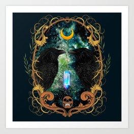 Raven Moon Oracle With Crystal Pendulum Art Print