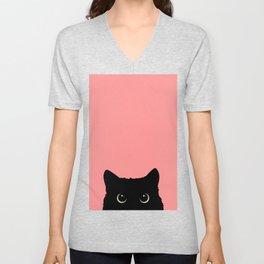Sneaky black cat Unisex V-Neck