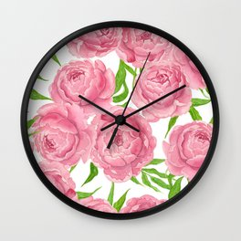 Pink peonies watercolor Wall Clock