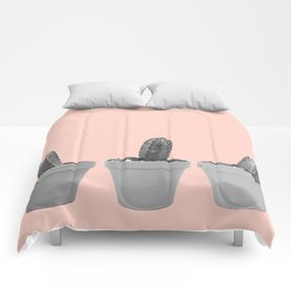 peach with black and white cacti Comforters