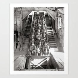 Michigan Copper Miners, 1906. Vintage Photo Art Print