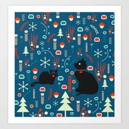Black kitties in winter Art Print