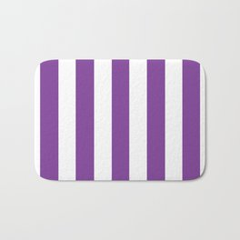 Cadmium violet - solid color - white vertical lines pattern Bath Mat