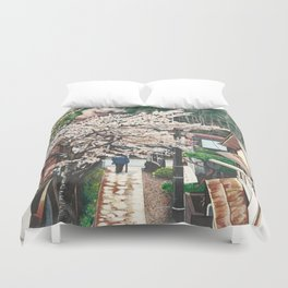 Passing by Cherry Blossoms Duvet Cover