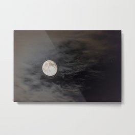 Waning moon and clouds with Saturn Metal Print