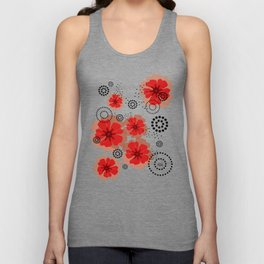 PEPPER POPPIES | red Unisex Tank Top