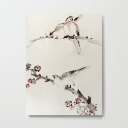 Katsushika Hokusai - Three Birds Perched on Branches, One with Blossoms Metal Print