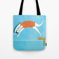 swim Tote Bags featuring Swim by Sally Townsend