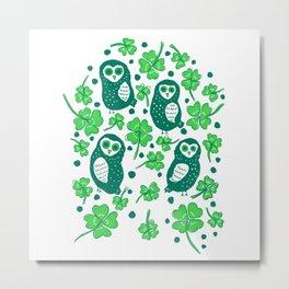 Shamrock Owls Metal Print