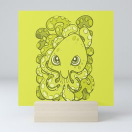 Happy Octopus Squid Kraken Cthulhu Sea Creature - Lime Punch Green Mini Art Print