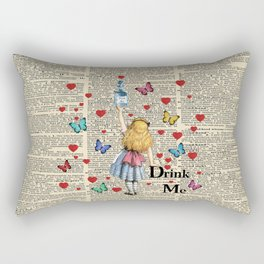 Drink Me - Vintage Dictionary Page - Alice In Wonderland Rectangular Pillow