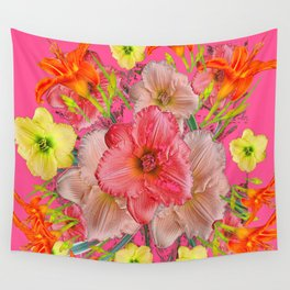 YELLOW PINK & CREAM DAYLILIES COLLAGE Wall Tapestry