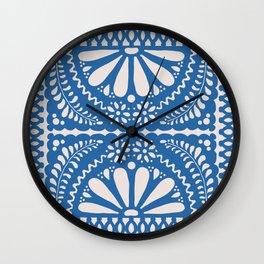 Fiesta de Flores Blue Wall Clock