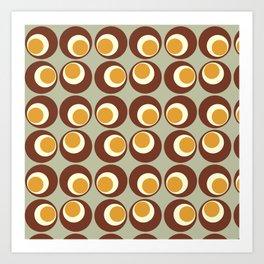 Green and Brown Retro Circles Art Print Art Print