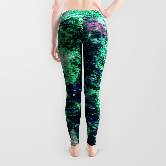 Face in Wood Abstract two Leggings