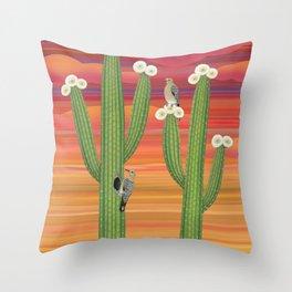 gila woodpeckers on saguaro cactus Throw Pillow