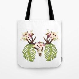 Exotic Tropical Floral Leaves Skull Antlers Tote Bag