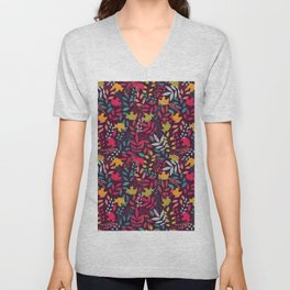 Autumn seamless pattern with floral decorative elements, colorful design Unisex V-Neck