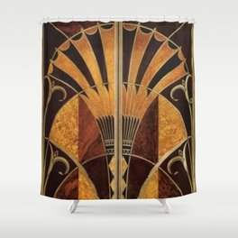 art deco wood Shower Curtain